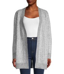 rd style women's patterned open-front cardigan sweater - grey - size m
