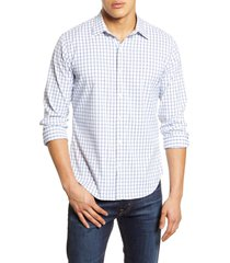 men's big & tall bonobos slim fit check button-up performance shirt, size large l - blue