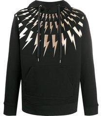 neil barrett thunderbolt high-neck hoodie - black