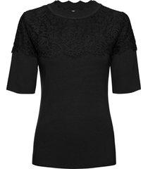 maglia a costine con pizzo (nero) - bodyflirt boutique