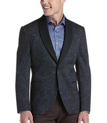joe joseph abboud brown paisley slim fit knit sport coat