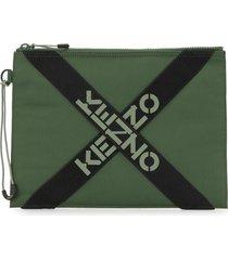 kenzo large cross logo pouch - green