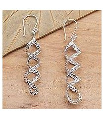 sterling silver dangle earrings, 'braided helix' (indonesia)