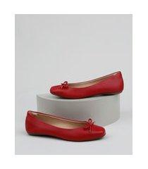 sapatilha feminina via uno bico quadrado com laço vermelha