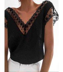 yoins patchwork de encaje blanco diseño blusa sin espalda con cuello en v
