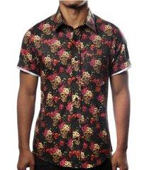 camisa camaleão urbano caveira mexicana floral masculina - masculino