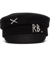 ruslan baginskiy crystal-embellished wool baker boy hat - black