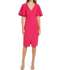 women's eliza j flutter sleeve crepe sheath dress, size 18 - pink