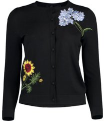 floral embroidered cropped cardigan
