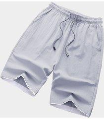 pantalones cortos de los hombres de la cintura del lazo liso de la raya lateral del estilo casual del algodón gris