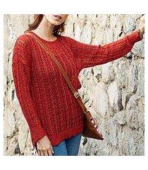 pima cotton pullover, 'sweet warmth in cinnabar' (peru)