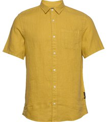regular fit- shortsleeve garment -dyed linen shirt overhemd met korte mouwen geel scotch & soda