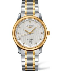 longines master automatic diamond bracelet watch, 38.5mm
