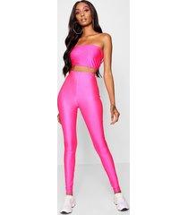 high shine neon legging, pink
