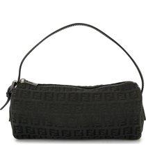 fendi pre-owned zucchino barrel handbag - black