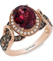le vian women's 14k strawberry gold®, raspberry rhodolite®, chocolate & vanilla diamond® ring - size 7