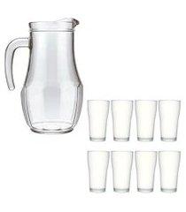 kit jarra de vidro tango 1,5 l e 8 copos de vidro 200ml