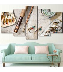 large framed fly fishing beach wood look canvas wall art home decor five piece