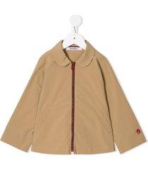 familiar round-collar jacket - brown