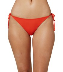 women's o'neill saltwater solids side tie bikini bottoms, size x-large - red