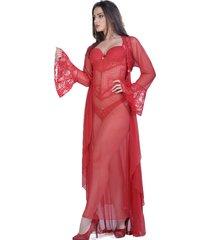 robe lámour longo yasmin lingerie manga comprida vermelho