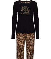 lrl l/s rib top long fleece pant pj set pyjama zwart lauren ralph lauren homewear