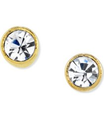 2028 14k gold dipped round crystal stainless steel stud earring