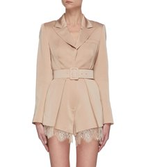 belted lace trim playsuit