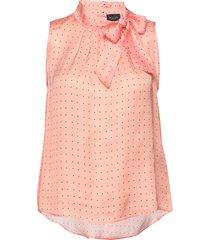 3356 - prosa top tie blus ärmlös rosa sand