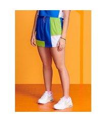 shorts saia azul com recortes active athr