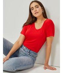 amaro feminino blusa básica u, vermelho