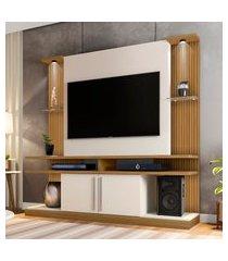 estante para tv até 60 pol bechara york led cinamomo/off white ripado