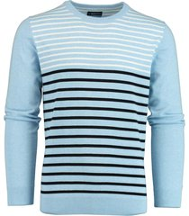 bos bright blue ian r-neck pullover stripes 20105ia05bo/210 l.blue