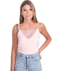 blusa rosa de tiras con encaje en escote flashy