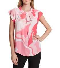 tahari asl printed pleated-front blouse