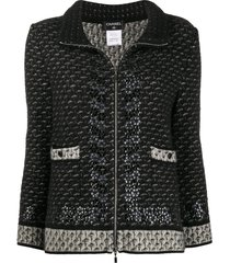 chanel pre-owned mohair zipped cardigan - black
