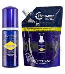 l'occitane rotina espuma de limpeza facial immortelle + eco refil