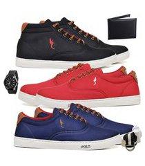 kit 3 pares sapatênis polo blu casual cano alto e cano baixo preto/vermelho/azul acompanha carteira + relógio + cinto + meia.