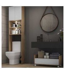 armário banheiro para vaso sanitário com 2 leds e balcáo com rodízios multimóveis branco/rustic
