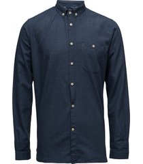 melange effect flannel shirt - gots overhemd casual blauw knowledge cotton apparel