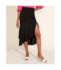 saia feminina midi assimétrica em camadas com babado e fenda preta