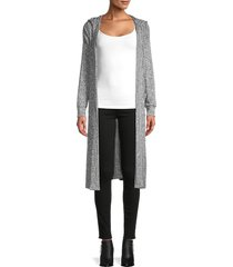 for the republic women's hooded open-front cardigan - grey heather - size l