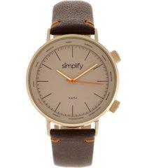 simplify quartz the 3300 gold case, genuine dark brown leather watch 43mm