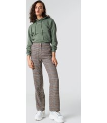 astrid olsen x na-kd checked suit pants - brown,beige
