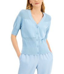 alfani mixed-stitch button-down v-neck sweater, created for macy's