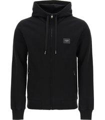 dolce & gabbana zip-up hoodie logo plaque