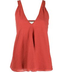 forte forte ribbed style embroidered detail vest top