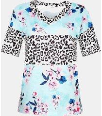 camicetta casual da donna con scollo a v manica corta con stampa calicò patchwork leopardato