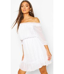 dobby off shoulder skater dress, white