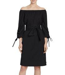 lafayette 148 new york women's classic stretch cotton keene dress - black - size m
